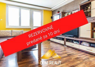 REZERVOVANÉ – Pekne zrekonštruovaný 3 izbový byt Koprivnická ulica